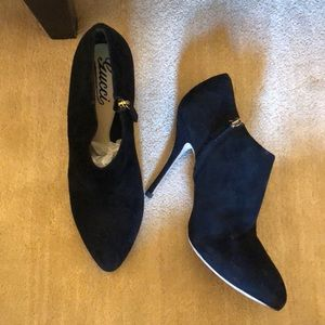 Gucci Black Suede Booties with side zipper